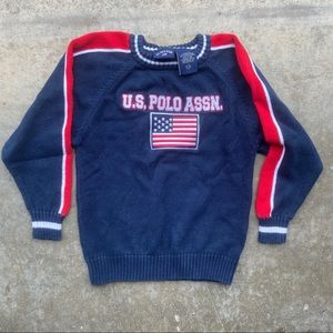 US polo association flag spellout sweater blue 5/6